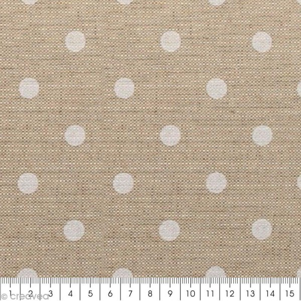 Coupon de tissu en coton - Pois - Blanc - 30 x 90 cm - Photo n°2