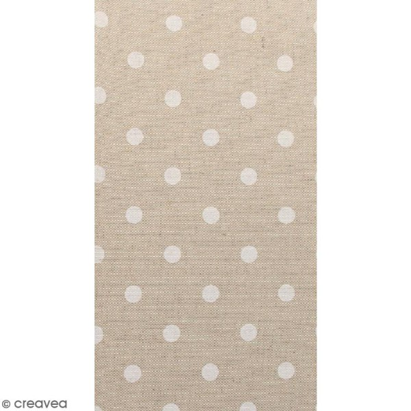 Coupon de tissu en coton - Pois - Blanc - 30 x 90 cm - Photo n°1