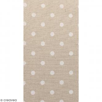 Coupon de tissu en coton - Pois - Blanc - 30 x 90 cm