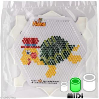 Plaque pour perles Hama Midi - Hexagonale avec un multi cadre + 2 modèles