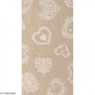 Coupon de tissu en coton - Coeur dentelle - Blanc - 30 x 90 cm