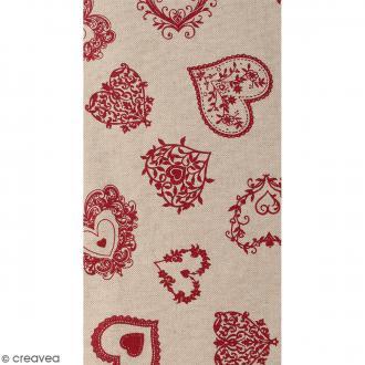Coupon de tissu en coton - Coeur dentelle - Rouge - 30 x 90 cm