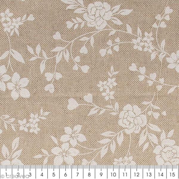 Coupon de tissu en coton - Fleur - Blanc - 30 x 90 cm - Photo n°2