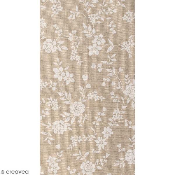 Coupon de tissu en coton - Fleur - Blanc - 30 x 90 cm - Photo n°1