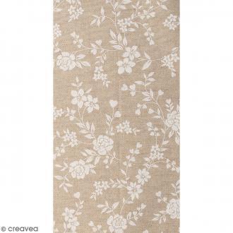 Coupon de tissu en coton - Fleur - Blanc - 30 x 90 cm