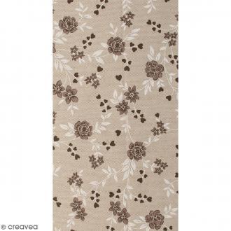 Coupon de tissu en coton - Fleur - Marron taupe - 30 x 90 cm