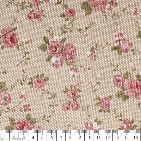 Coupon de tissu en coton - Fleur - Rose - 30 x 90 cm - Photo n°2