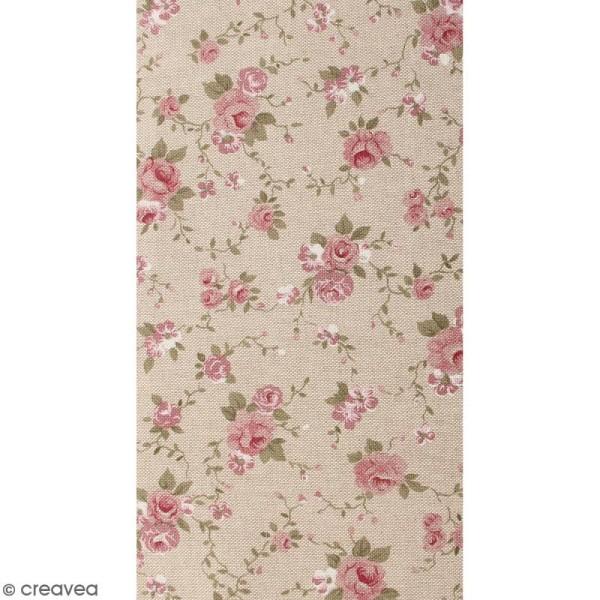 Coupon de tissu en coton - Fleur - Rose - 30 x 90 cm - Photo n°1