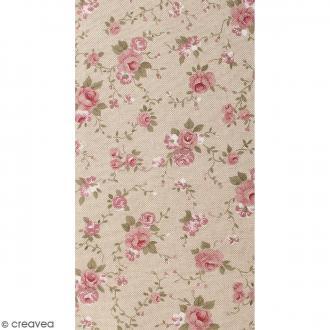 Coupon de tissu en coton - Fleur - Rose - 30 x 90 cm