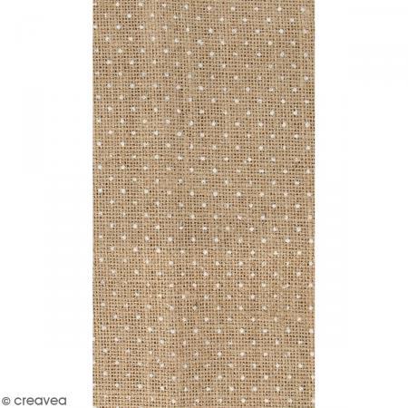 coupon de tissu en toile de jute floqu pois blanc 30. Black Bedroom Furniture Sets. Home Design Ideas