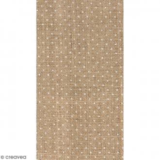Coupon de tissu en Toile de jute floqué - Pois blanc - 30 x 90 cm
