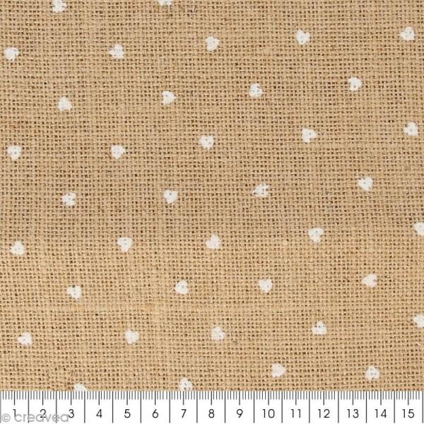 Coupon de tissu en Toile de jute floqué - Coeur blanc - 30 x 90 cm - Photo n°2