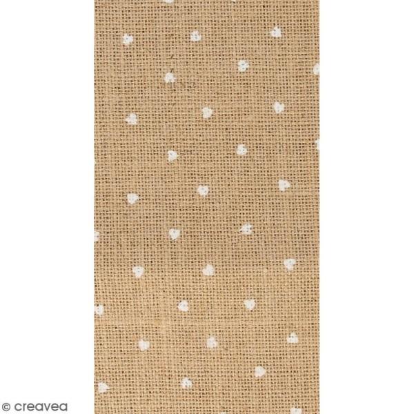 Coupon de tissu en Toile de jute floqué - Coeur blanc - 30 x 90 cm - Photo n°1