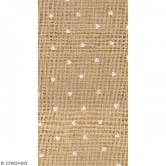 Coupon de tissu en Toile de jute floqué - Coeur blanc - 30 x 90 cm