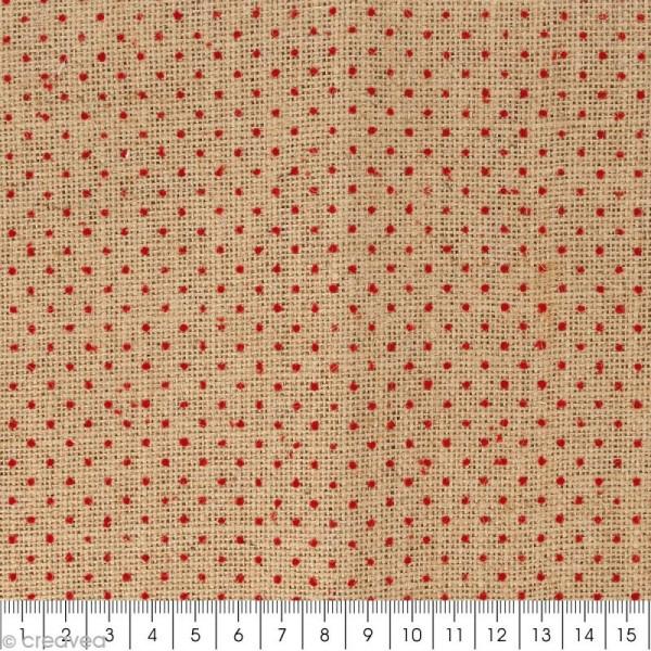 coupon de tissu en toile de jute floqu pois rouge 30 x 90 cm coupon de tissus creavea. Black Bedroom Furniture Sets. Home Design Ideas