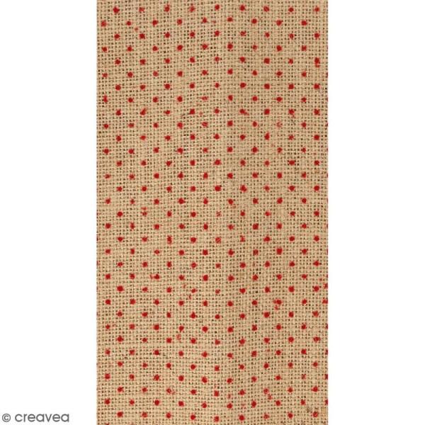 coupon de tissu en toile de jute floqu pois rouge 30. Black Bedroom Furniture Sets. Home Design Ideas