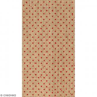 Coupon de tissu en Toile de jute floqué - Pois rouge - 30 x 90 cm