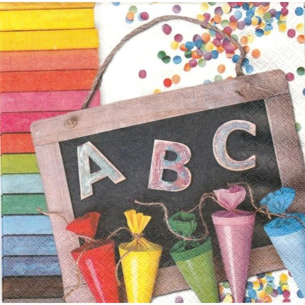 4 Serviettes en papier ABC 123 école Format Lunch Decoupage Decopatch 211721 Home Fashion - Photo n°1