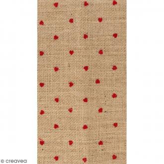 Coupon de tissu en Toile de jute floqué - Coeur rouge - 30 x 90 cm