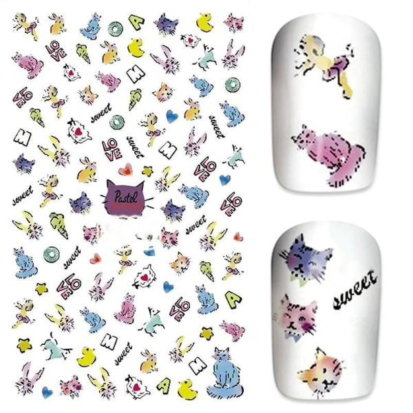 1 Feuille de Sweet Love Kitty Chats 3d Nail Art autocollant Autocollants Stickers Appliques Set de B - Photo n°1