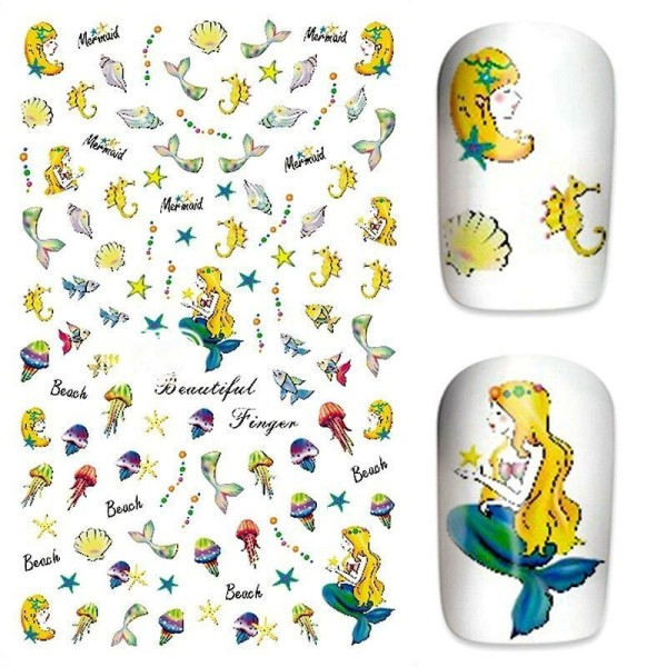 1 Feuille de Mer la Sirène Étoile de Mer Cheval Shell Fish 3d Nail Art autocollant Autocollants Stic - Photo n°1