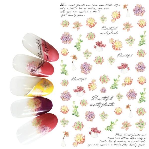 1 Feuille de Belles Plantes Succulentes Fleurs 3d Nail Art autocollant Autocollants Stickers Appliqu - Photo n°1