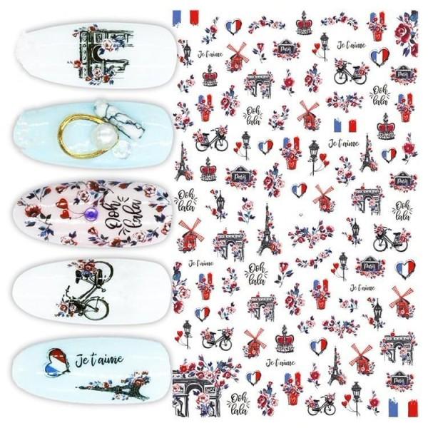 1 Feuille de l'Amour de Paris, la France Signe d'Oiseaux Et de Fleurs en 3d Nail Art autocollant Aut - Photo n°1
