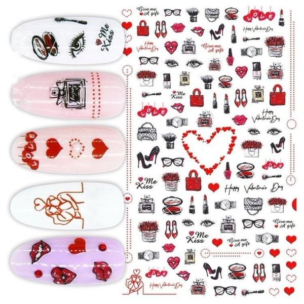 1 Feuille Rouge Aime les Femmes de la Mode des Signes Mélange 3d Nail Art autocollant Autocollants S - Photo n°1
