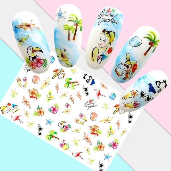 1 Fiche d'Été, le Paradis de la Mer 3d Nail Art autocollant Autocollants Stickers Appliques Set de B - Photo n°2