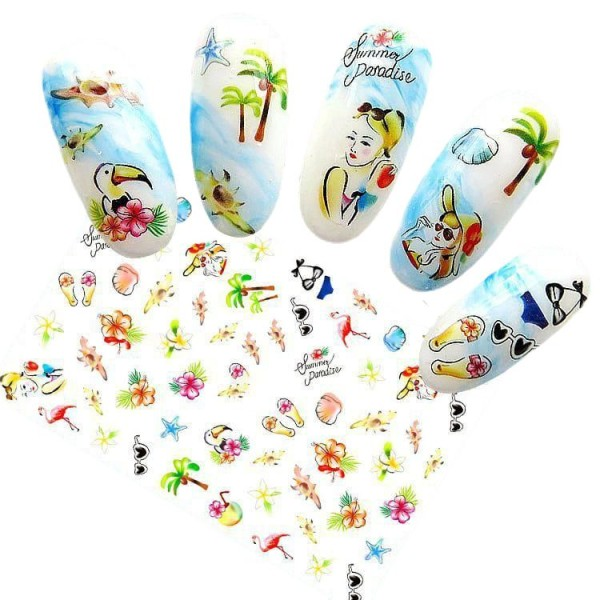 1 Fiche d'Été, le Paradis de la Mer 3d Nail Art autocollant Autocollants Stickers Appliques Set de B - Photo n°1
