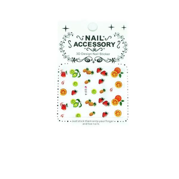 1 Feuille de Fruit Mix Orange Ananas Fraise Lime 3d Nail Art autocollant Autocollants Stickers Appli - Photo n°1