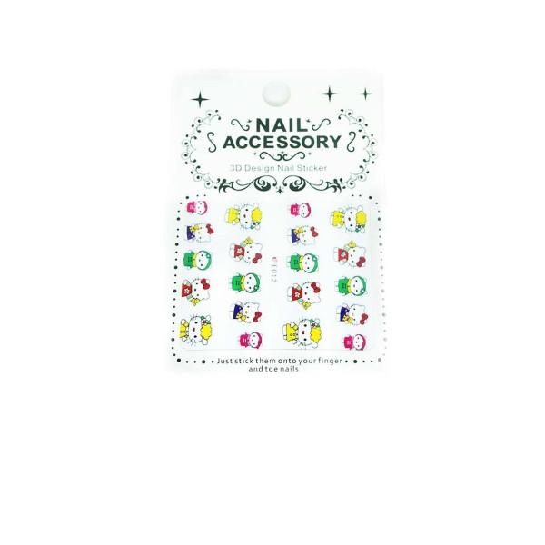 1 Feuille Jaune Rouge Vert de Chat Hello Kitty 3d Nail Art autocollant Autocollants Stickers Appliqu - Photo n°1