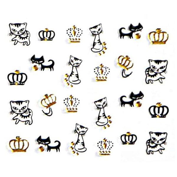 1 Feuille d'Or les Chats Noirs Et les Couronnes 3d Nail Art autocollant Autocollants Stickers Appliq - Photo n°1