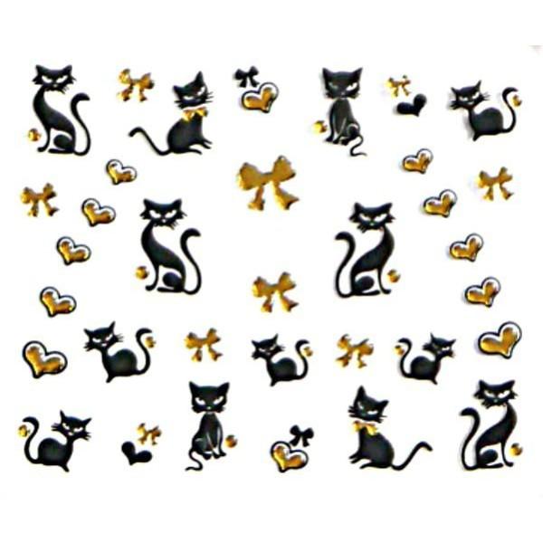 1 Feuille d'Or Chat Noir Bowknot Coeur 3d Nail Art autocollant Autocollants Stickers Appliques Set d - Photo n°1