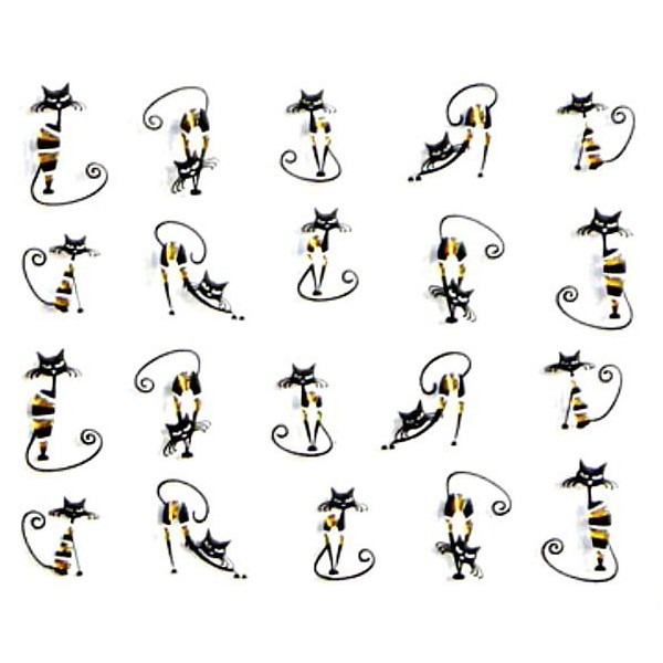 1 Feuille d'Or Noir Rayé de Chat 3d Nail Art autocollant Autocollants Stickers Appliques Set de BRIC - Photo n°1