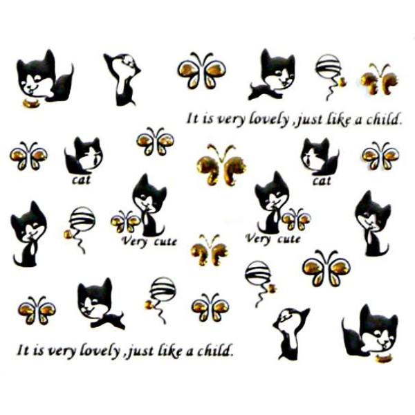 1 Feuille d'Or Noir Mignon Kitty Et Papillon 3d Nail Art autocollant Autocollants Stickers Appliques - Photo n°1