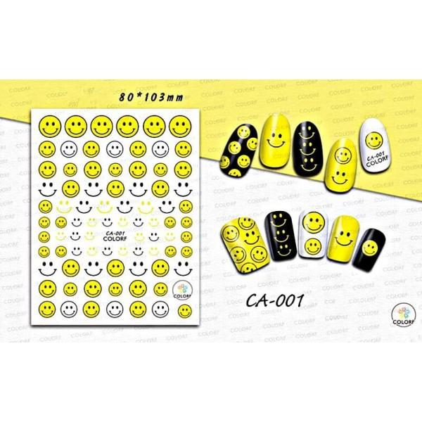 1 Feuille de Sourire Jaune Emoji 1 3d Nail Art autocollant Autocollants Stickers Appliques Set de BR - Photo n°1