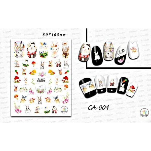 1 Feuille de Lièvre lapin Lapin de Pâques Mélange 3d Nail Art autocollant Autocollants Stickers Appl - Photo n°1