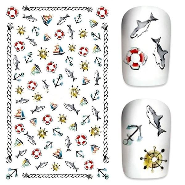 1 Feuille de Requin Marin Ancre Lifering 3d Nail Art autocollant Autocollants Stickers Appliques Set - Photo n°1