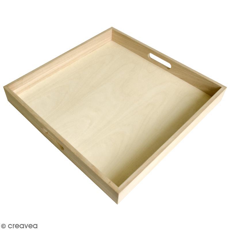 plateau en bois d corer 40 x 40 x 5 cm plateau d corer creavea. Black Bedroom Furniture Sets. Home Design Ideas