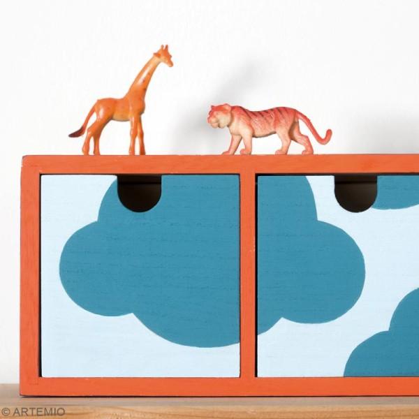 Meuble casier à tiroirs en bois brut - 4 tiroirs - 44 x 10 x 12 cm - Photo n°2