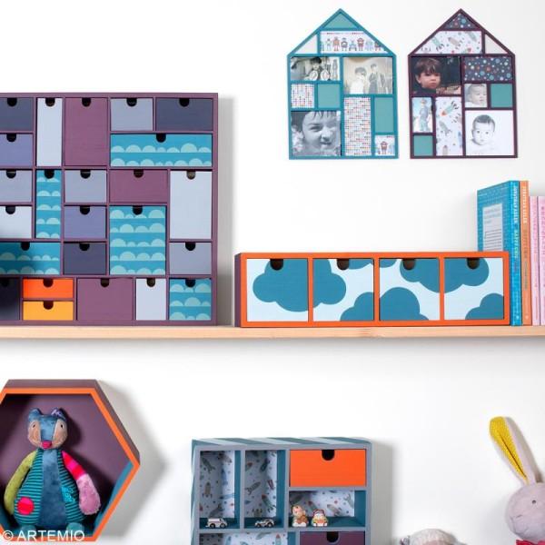 Meuble casier à tiroirs en bois brut - 4 tiroirs - 44 x 10 x 12 cm - Photo n°3