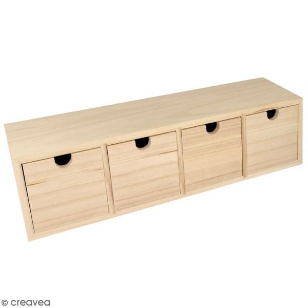 Meuble casier à tiroirs en bois brut - 4 tiroirs - 44 x 10 x 12 cm - Meuble à décorer - Creavea