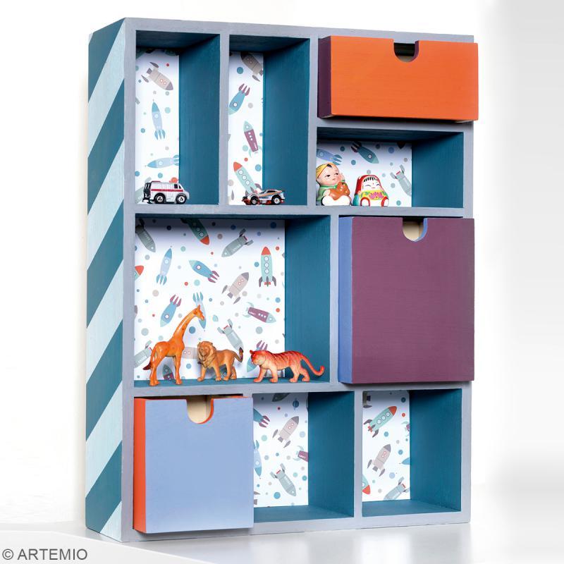 Meuble casier à tiroirs en bois brut - 9 compartiments - 30 x 10 x 40 cm - Photo n°2