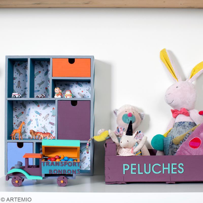 Meuble casier à tiroirs en bois brut - 9 compartiments - 30 x 10 x 40 cm - Photo n°3