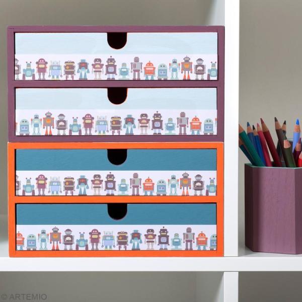 Meuble casier à tiroirs en bois brut - 2 tiroirs - 24 x 16 x 13 cm - Photo n°2