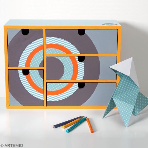 Meuble casier à tiroirs en bois brut - 5 tiroirs - 35 x 15 x 26 cm - Photo n°2