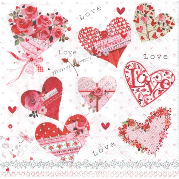 4 Serviettes en papier Cœur Amour Format Lunch Decoupage Decopatch 74501 Nouveau - Photo n°1