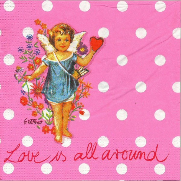 4 Serviettes en papier Ange Amour Format Lunch Decoupage Decopatch 5674 PPD - Photo n°1