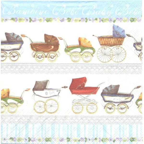 4 Serviettes en papier Naissance Landau Format Lunch Decoupage Decopatch 13306226 Ambiente - Photo n°1